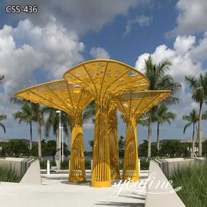 Outdoor Plaza Large Metal Tree Sculptures Project for Sale CSS-436